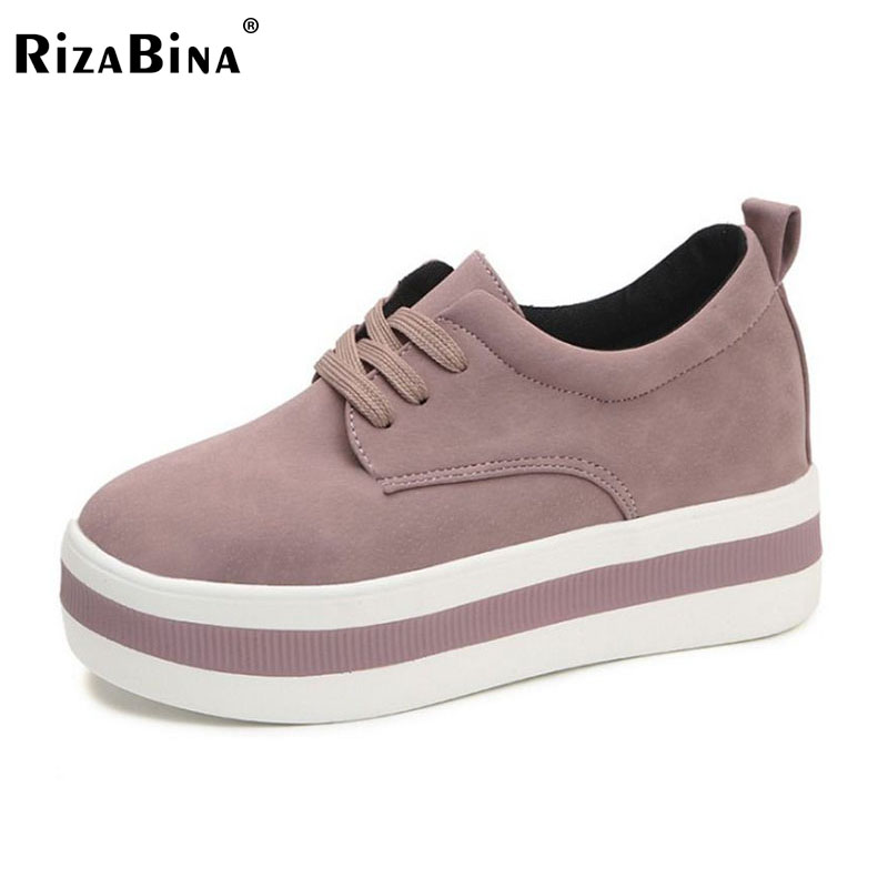 RizaBina Concise Women Thick Bottoms Shoes Women Round Toe Solid Color Platform Shoes Women Sneakers Woman Footwear Size 35-39 rizabina concise women sneakers lady white shoes female butterfly cross strap flats shoes embroidery women footwear size 36 40