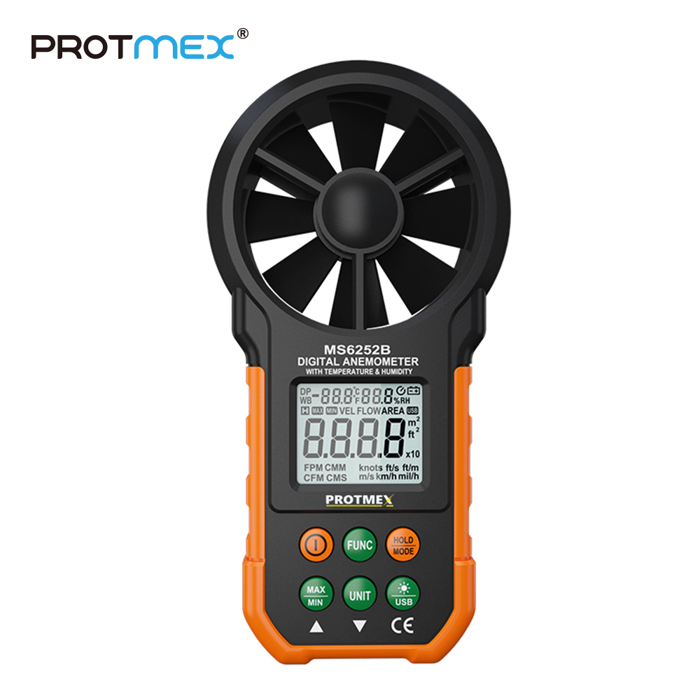 все цены на PT6252B Professional Wind Speed Test Meter Multifunction Digital Anemometer With Tachometer Air Volume Thermometer Humidity онлайн