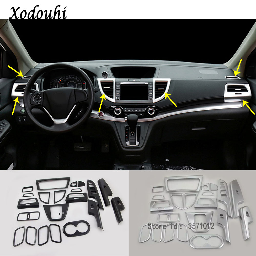 For Honda CRV CR-V 2012 2013 2014 2015 2016 Car ABS Switch handle bowl vent outlet air condition panel Control trim frame 22pcs for honda crv cr v 2017 auto door handle bowl cover trim frame overlays 4pcs chrome abs carbon fiber style moldings car styling