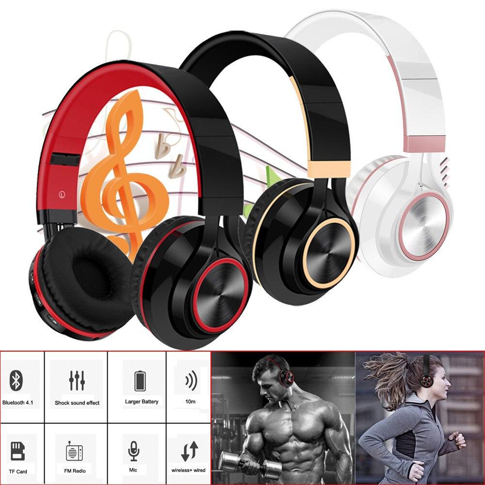 Wireless Bluetooth Foldable Headphones Hi-Fi Stereo Headset With Mic SD/TF Card Headset card radio wireless Bluetooth headset bluetooth