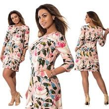 Hot 5XL 6XL Large Size 2017 Summer Dress Big Size Flowers Print Dress Straight Elegant Dresses Plus Size Women Clothing Vestidos