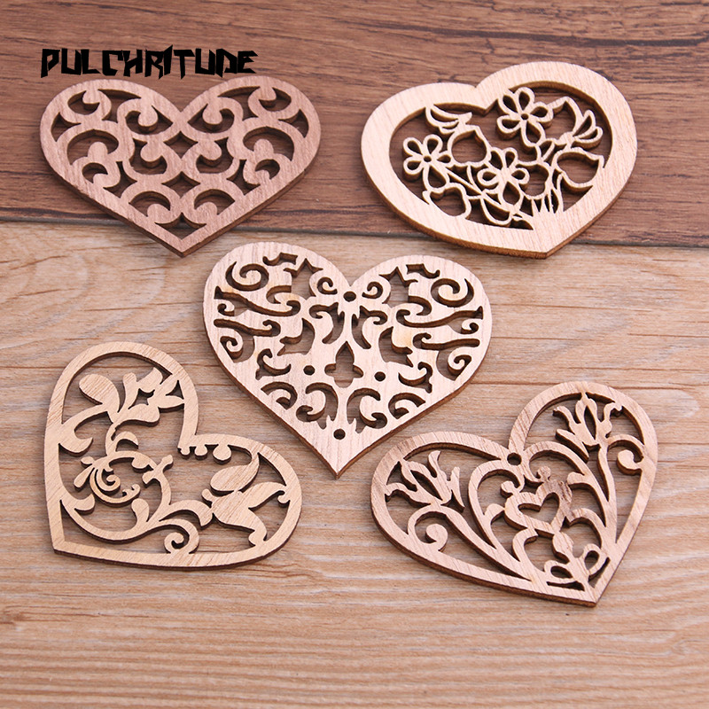 PULCHRITUDE Scrapbooking-Crafts Handmade Carved Heart 10pcs Mix Wood for DIY Home-Decoration