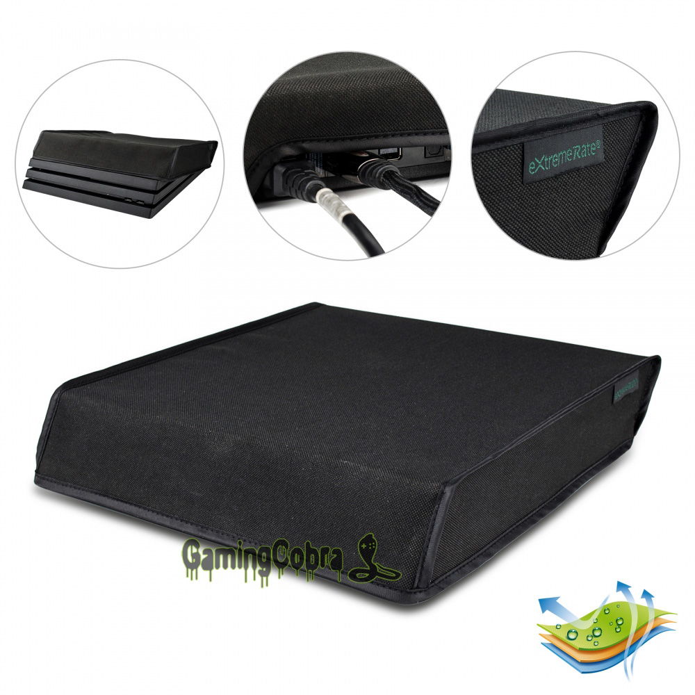 Black Horizontal Dust Cover For PS4 Pro Console Double Layer Soft Neat Lining Waterproof Dustproof - JYP4O0001GC