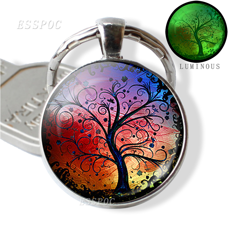 Tree Of Life Jewelry Luminous Picture Glass Alloy Keychains Key Rings Glow In The Dark Jewelry Bag Pendant