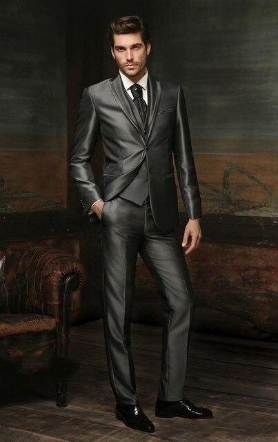 Aliexpress.com : Buy Newest Groom Tuxedos Shiny Dark Grey ...