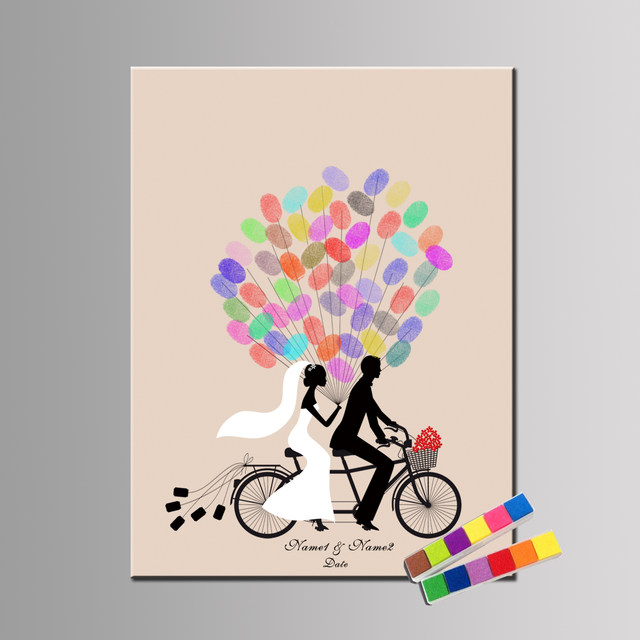 Online shop custom name date wedding guestbook creative wedding custom name date wedding guestbook creative wedding decoration wedding gift idea sweet couple riding bike custom canvas print negle Images