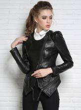 Autumn street black round collar zipper motorcycle genuine leather jacket womens sheepskin jackets and coats slim fashion 2XL