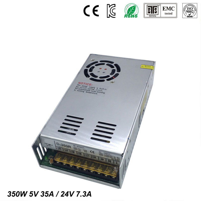 Best quality double sortie 5V 24V 350W Switching Power Supply Driver for LED Strip AC100-240V Input to DC 5V 12V free shipping купить недорого в Москве