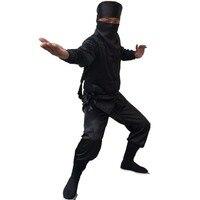 Dành cho người lớn Ninja Assassin Phù Hợp Với Màu Đen của Nam Giới Truyền Thống Trung Quốc Kung Fu Trang Phục Tang Trang Phục Đeo Mặt Nạ Samura Nignt Uniform Fancy Dress