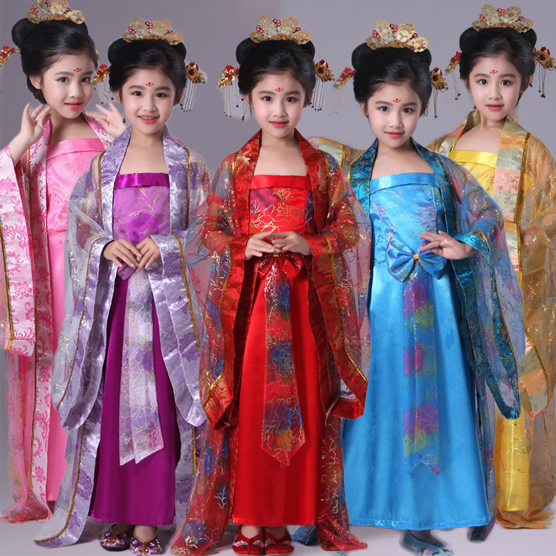 Chinese Kids Costume Girls Fairy Dress Princess Traditional Chinese Hanfu Tang Dynasty Costumes Children Folk Clothes DNV10714