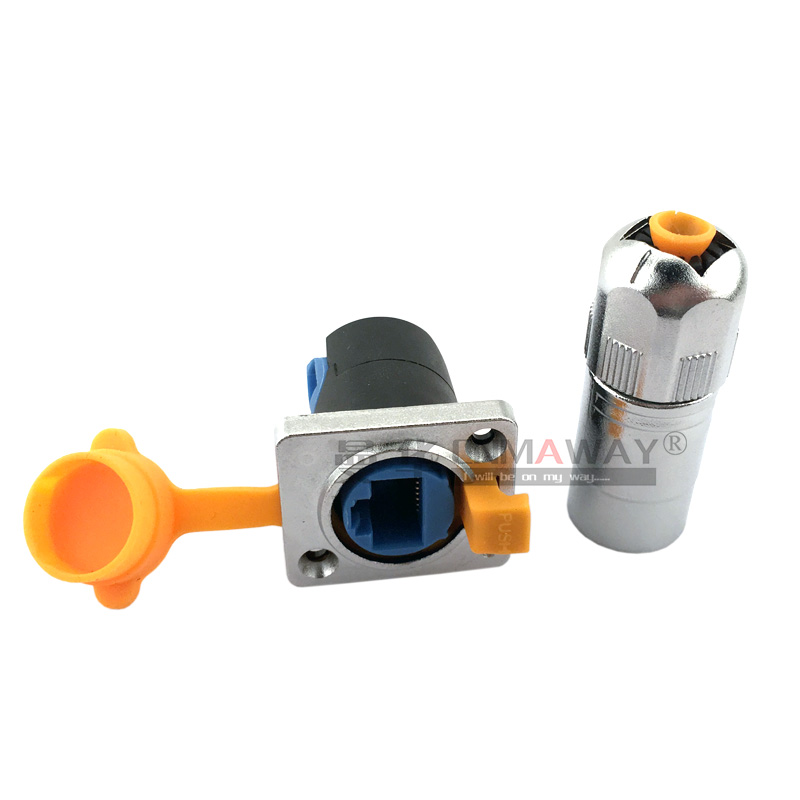 RJ45 waterproof dustproof connector plugs and socket Network cable female connector 90 degree angle LED display signal connector цена и фото