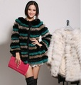 Free shipping new hand knit real rabbit fur coat women long thick rabbit fur jacket winter fur waistcoat wholesale retail J656
