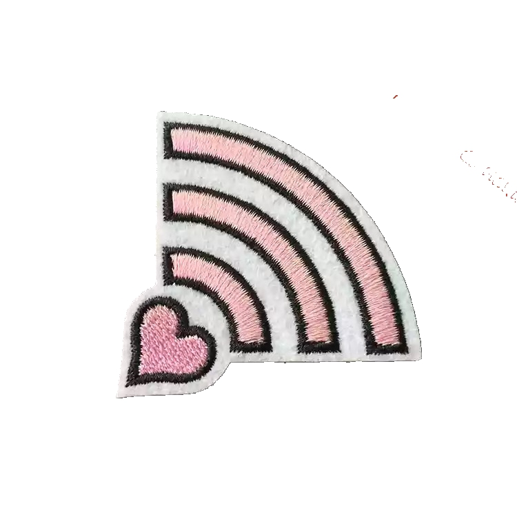 5 Pieces/lot Pink Heart WIFI Embroidered <font><b>Patches</b></font> for Clothes <font><b>Coat</b></font> Shoes DIY Decoration Accessories Embroidery <font><b>Patch</b></font> Appliques image