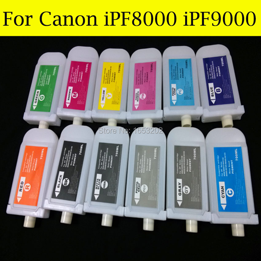 12 Pieces/Lot Empty For Canon PFI-701 Refill Ink Cartridge For Canon iPF8000 iPF9000 Printer color ink jet cartridge for canon printers 821 820 series