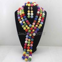 2019 Masquerade Nigerian Beads Set Pretty Costume African Jewelry Set New Handmade Necklace Set Wholesale Free Shipping HD7612