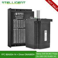 Nema 34 Dia14mm 4 lead 8.5NM 6.0A Stepper Motor Stepping Motor with DMA860H Stepper Motor Driver DC Motor Driver Stepper CNC Kit