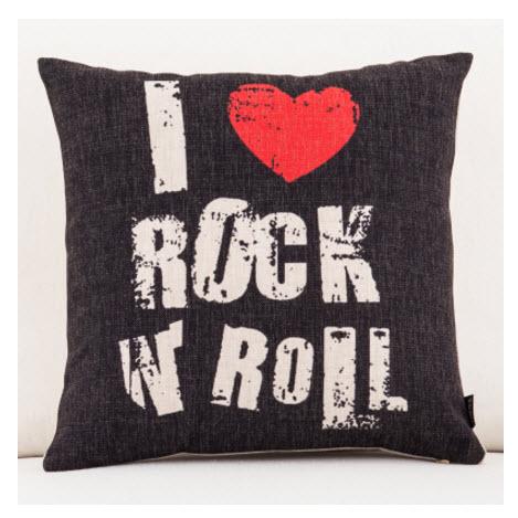 I Love Rock Roll Music Emoji Throw Massager Decorative Vintage Cool Decorative Roll Pillows