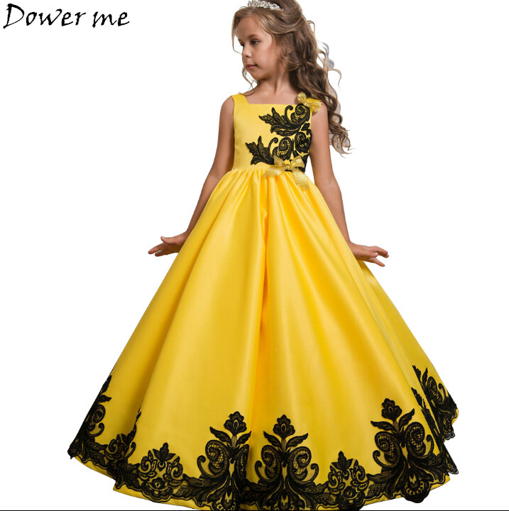 Upscale Prom Long Dress Teens Kids Girls Wedding  Embroidered Flower Girl Dress Princess Evening Party Sleeveless Formal Dresses girls short in front long in back purple flower girl dress summer 2017 girl formal dress kids party princess custume skd014283