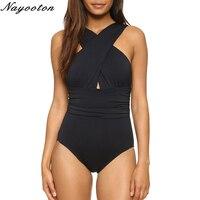 Summer New S XXL 2017 Sexy Cross Halter Women Swimwear One Piece Swimsuit Black Red Solid