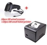 10 шт. 1D сканер + новый бренд высокое качество pos printer10pcs 80 мм Тепловая чековый маленький Билет принтер штрих кода автоматический резак