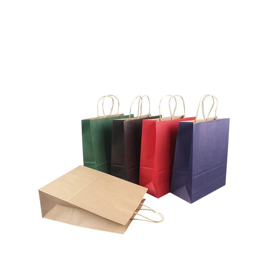 50 Pcs/lot 21x15x8cm High-end Kraft Paper Bag Shopping Bags DIY Multifunction Festival Gift Paper Bag With Handles