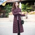 2016 de la moda chaqueta de invierno mujeres pato abajo escudo x-long Stirpe V-cuello parkas para las mujeres de invierno de vestir exteriores caliente abrigos