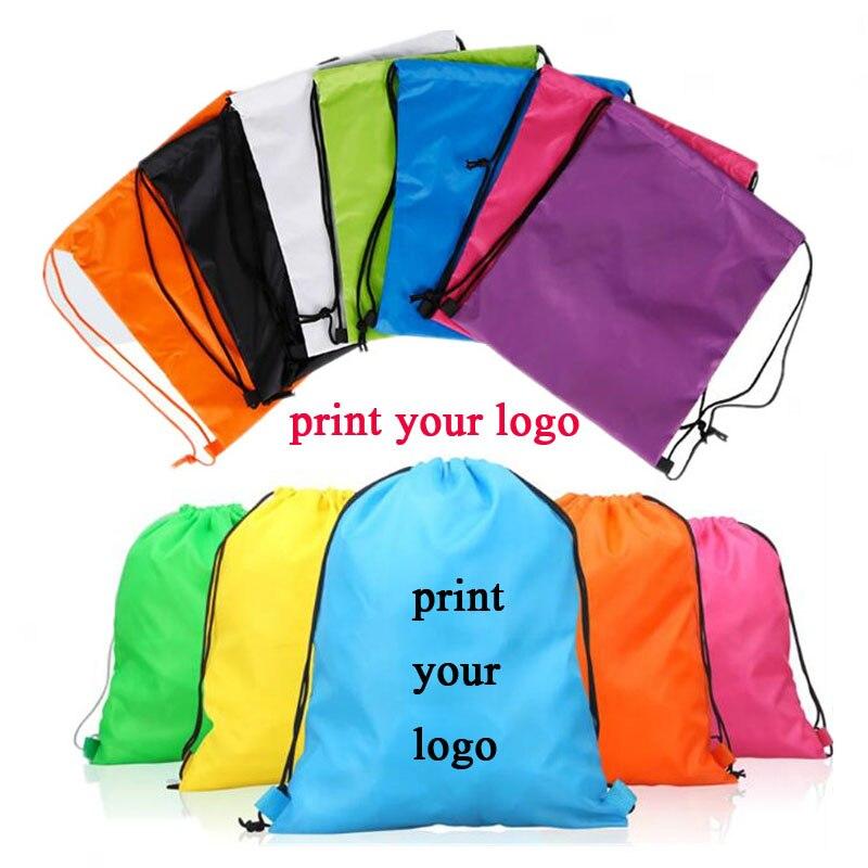 100pcs Custom logo bags high quality material 210D polyester drawstring backpack make logo bgs print logo