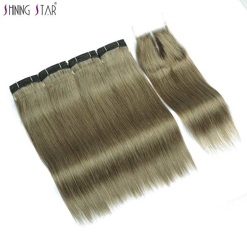Shining Star Linen Green Human Hair Weave Bundles With Closure 4 Colored Malaysian Straight Hair Bundles With Closure Non Remy