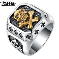 ZABRA 925 Sterling Silver 16.5mm Cor do Ouro Crânio Âncora Escultura Flor Cruz Homens Anel de Dedo Do Punk Do Vintage de Prata 925 jóias