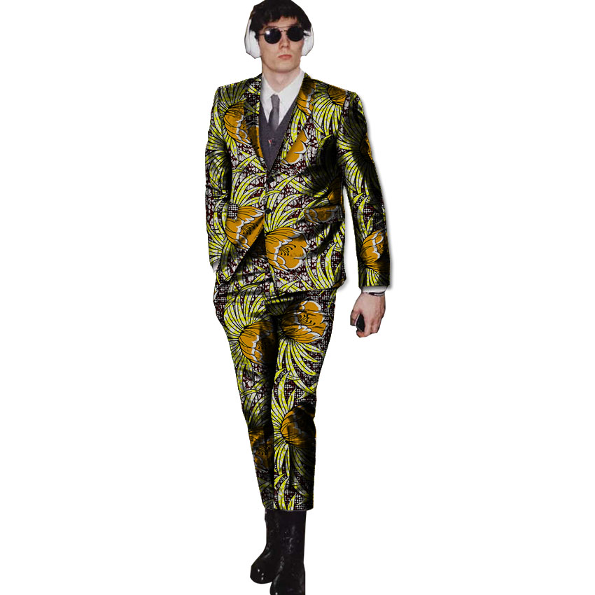 New arrivals wax mens African suits Ankara print dashiki suits man blazer with pant 2 pi ...