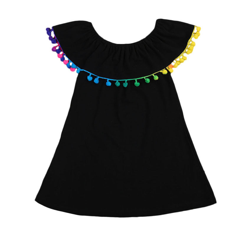 2017 Summer Kids Girl Dress Off shoulder Cape Collar Colorful Tassel Princess Girls Party Dresses One pieces Children Sundress