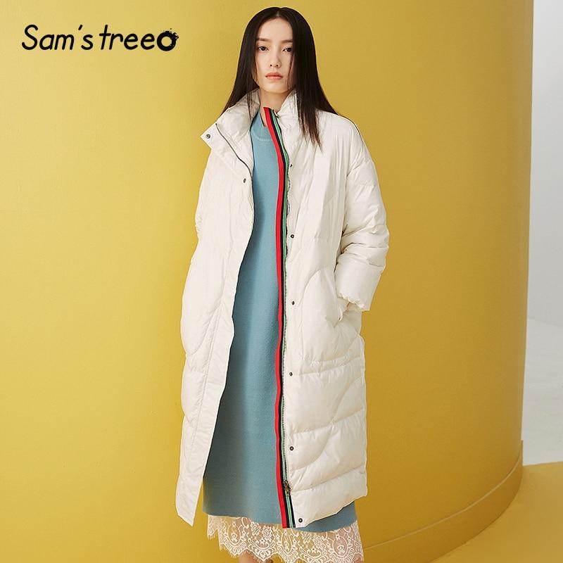 Samstree Winter Women 90% White   Down     Coats   Stand Collar Long   Coats   Rainbow Ribbon Decoration Female Outwear Parksa