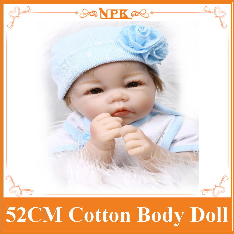 Very Good Looking 52cm 21inch NPK Brand Silicone-Reborn-Baby-Dolls With Cotton Mixed Fabric Two- Piece Suit High Quality Benecas 52cm 21inch npk brand kawaii reborn baby dolls made by 100