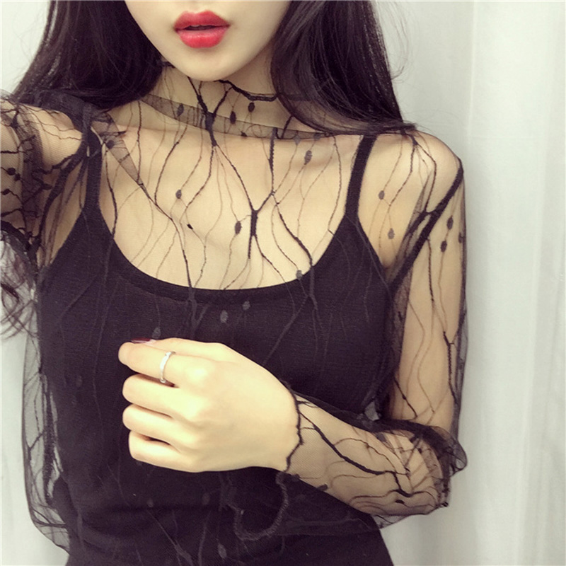 Womens Perspective Mesh Gauze Lace Slim Pullover   Blouses   Sheer Tops   Shirts   Black