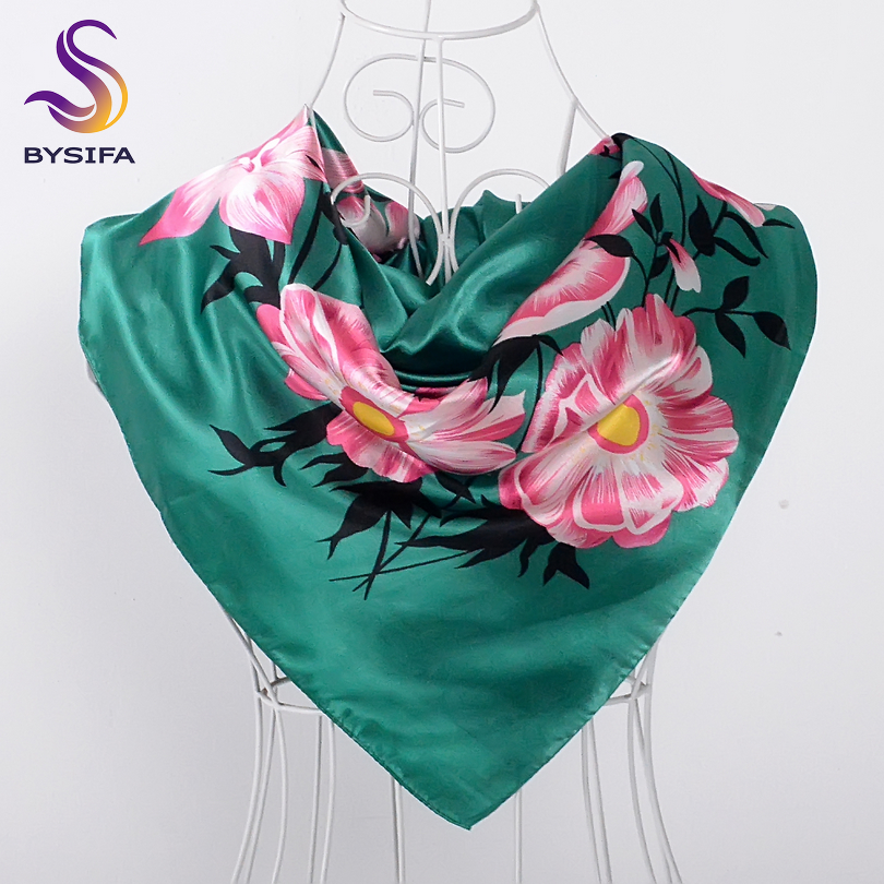 [BYSIFA] Green Ladies Satin Square   Scarves     Wraps   New Design Women Floral Pattern Polyester Silk   Scarf   Shawl For Spring Autumn