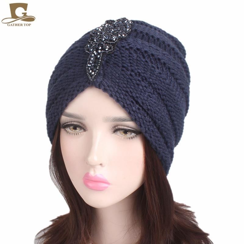 NEW Winter Warm Women Slouchy Beanie Beaded Flower Knit Turban Skull Cap Peaded Baggy Knitted Hat