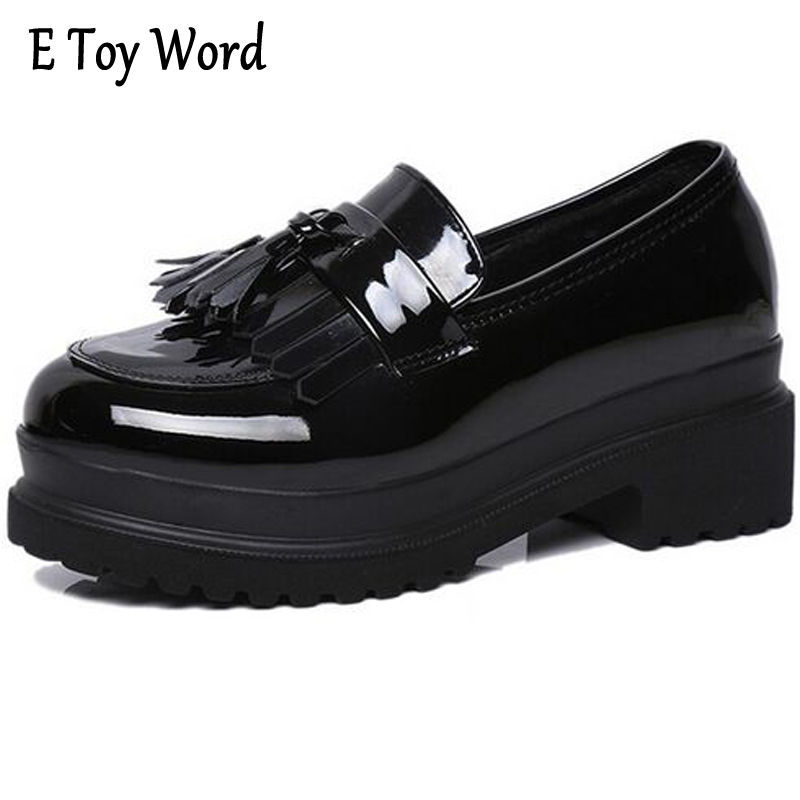 E TOY WORD Women Shoes Patent Leather Wedges Round Toe Platform Shoes Casual Shoes Woman Fashion tassels Zapatillas Deportivas phyanic 2017 gladiator sandals gold silver shoes woman summer platform wedges glitters creepers casual women shoes phy3323