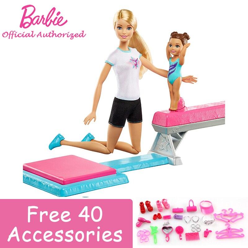 Original Barbie Poupée Sport Série Gymnaste costume Barbie Girll Entraîneur Drôle jouet Interactif Entre Amis Brinquedos DMC37 Cadeaux