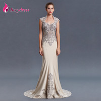 Elegant Mother Of The Bride Dresses Square Neck Sleeveless Appliques Embroidery Crystal Evening Dresses Party Dresses