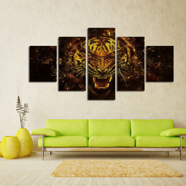 Piece Wall Paintings Home Decorative Modern Tiger Art Combination