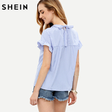 SHEIN Ladies Tops Blue Blouses in Women Summer Blue Striped Peter Pan Collar Short Sleeve Blouse Women Casual Blouses