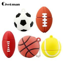 Флешки Футбол интерфейсом USB 8 ГБ 16 ГБ 32 ГБ 64 ГБ Мультфильм Баскетбол Флешка USB 2,0 флэш-памяти диск флэш-накопитель 128 ГБ