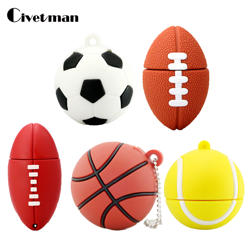 Pendrive Football Sports USB Stick 8GB 16GB 32GB 64GB Cartoon Basketball Flash Drive USB 2.0 Flash Memory Disk Pen Drive 128GB