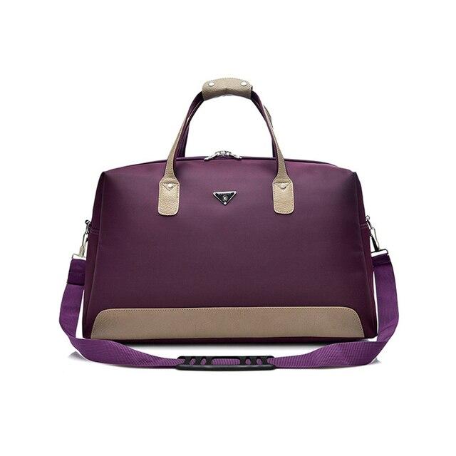 Wobagパッチワーク革の男性はバッグ防水オックスフォード女性旅行バッグ大容量のトートバッグ荷物ショルダーバッグ