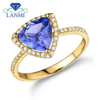 Vintage Trillion 8mm Natural Tanzanite Wedding Rings Solid 14K Yellow Gold Luxury Design for Wife Birthday Jewerly Gift WU103