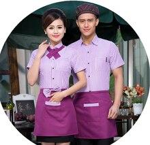 Hotel Uniforms Work Clothes Long Sleeved Summer Waiter Restaurant Fast-food Restaurant Female Uniforms