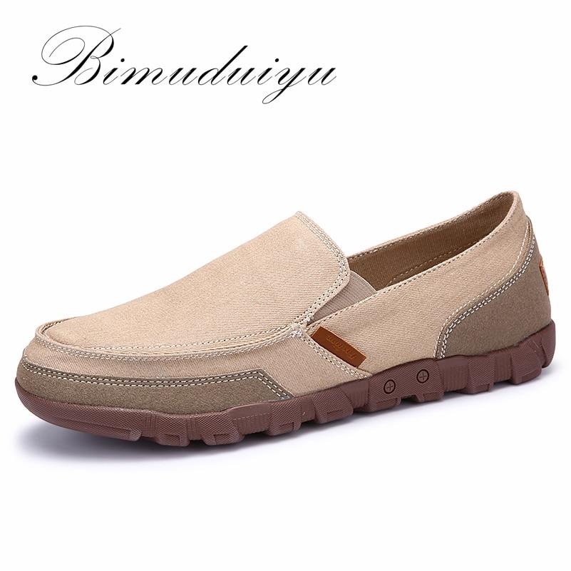 BIMUDUIYU Mode Printemps Été Hommes Toile Chaussures Respirant Casual Chaussures Mocassins Confortable Ultra-Léger Paresseux Glissement sur des Chaussures Appartements
