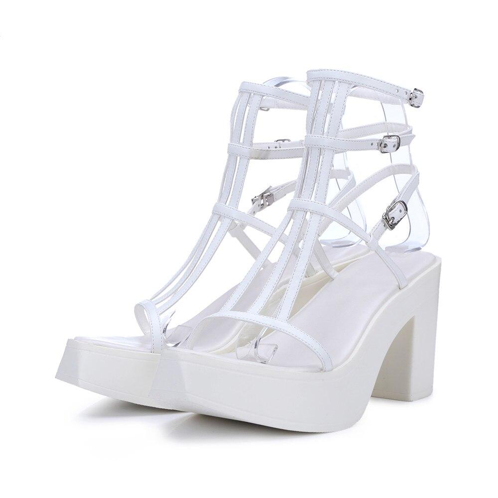 Épais blanc D'été Talon Plate Mode 2018 En Élégante De Sandales Noir Chaussures forme Bal Boucle Véritable Asumer Femme Cuir qZUwfcx