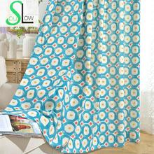Slow Soul Blue Gray Rubik Cube Modern Cotton Simple Curtains Fabrics Curtain Geometric For Living Room Kitchen Kids Children