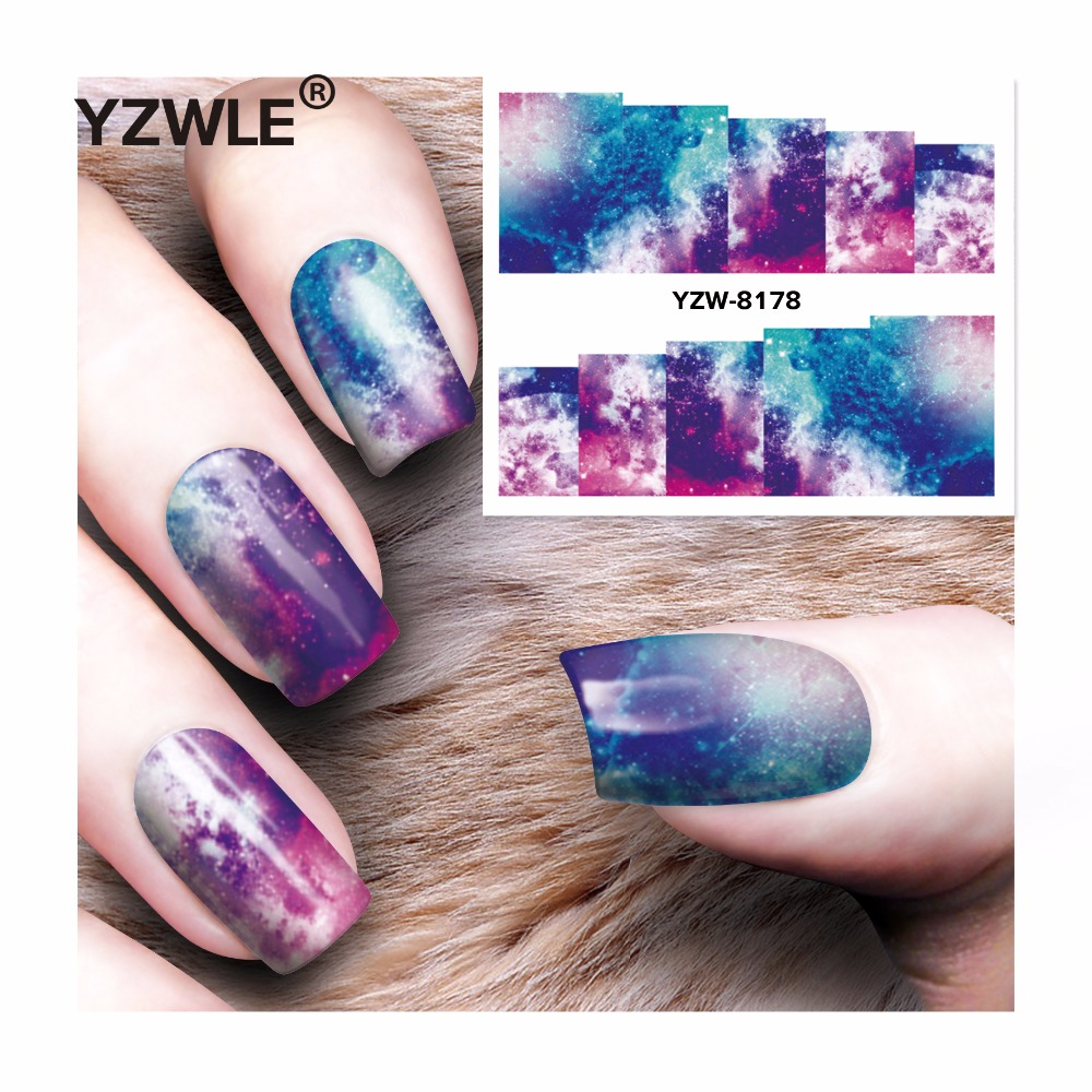 YZWLE 1 Sheet DIY Decals Nails Art Water Transfer Printing Stickers Accessories For Manicure Salon  YZW-8178 yzwle 1 sheet nail art stickers animal pattern 3d mysterious black cat designs water transfers decals diy decoration accessories